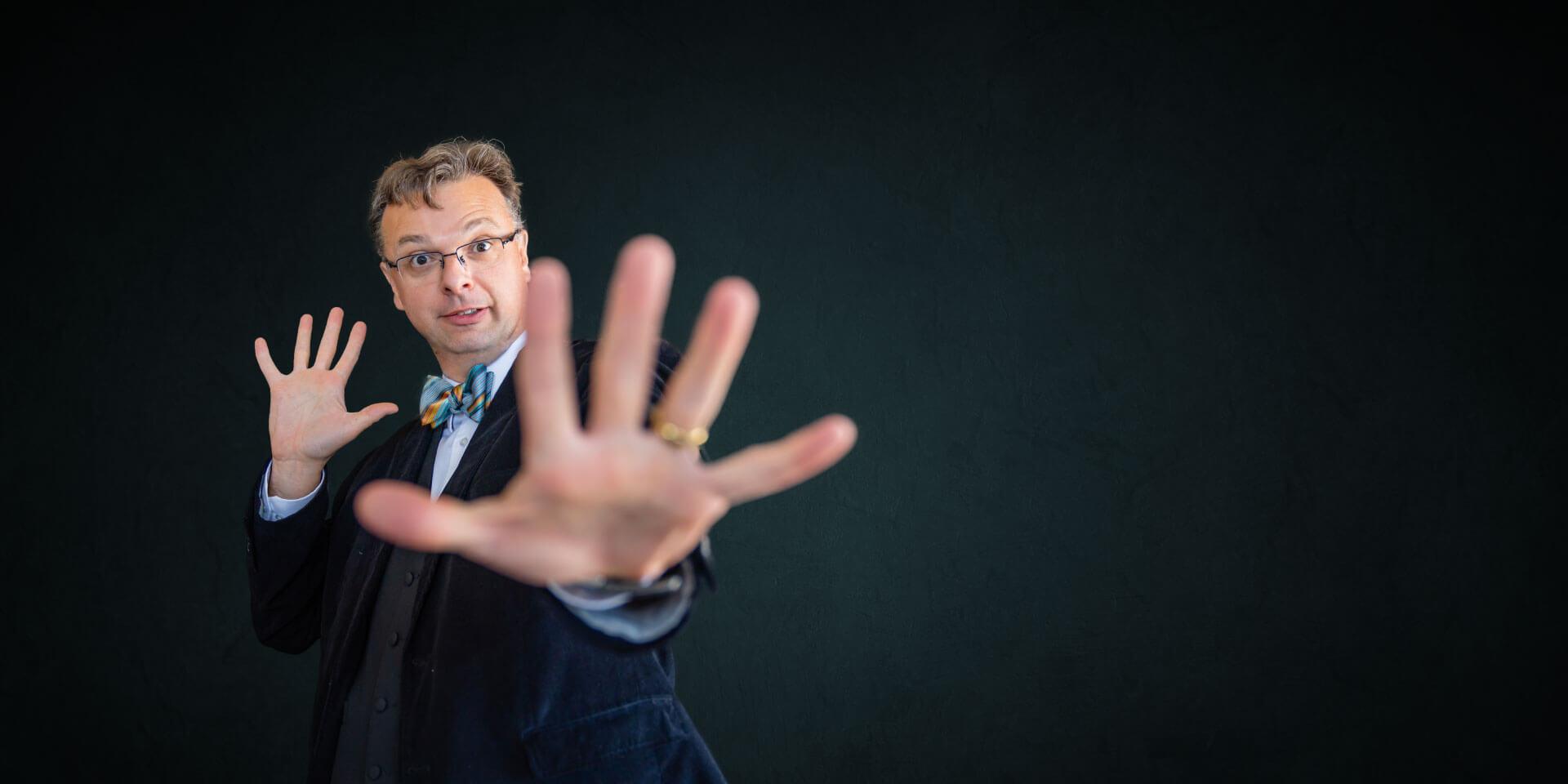 Matt Disero shows hand empty